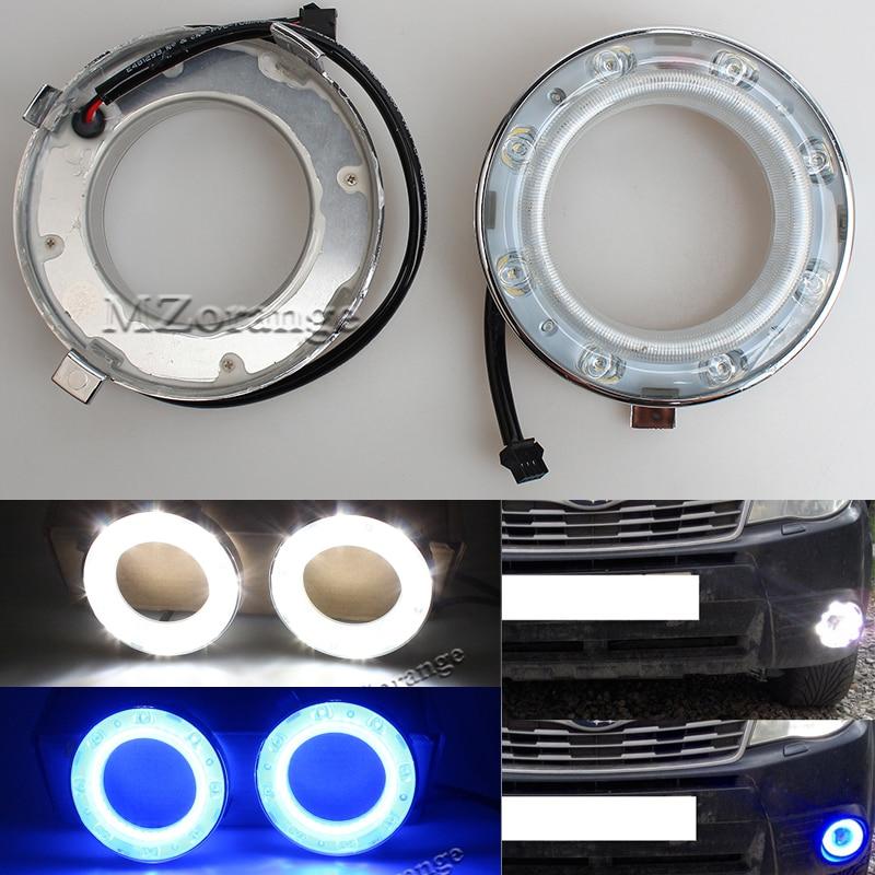 MZORANGE Waterproof 12V LED Daytime Running Light Fog Light For Subaru Forester 2009 2010 2011 2012 Blue Turn Singal Car DRL 2009 2011 year golf 6 led daytime running light