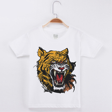 New Fashion Kids Clothes Chidren T-shirts Bear/Tiger/Octopus Print Cotton Boys Chid Short Sleeves T Shirt Girls Tops Tee Unisex