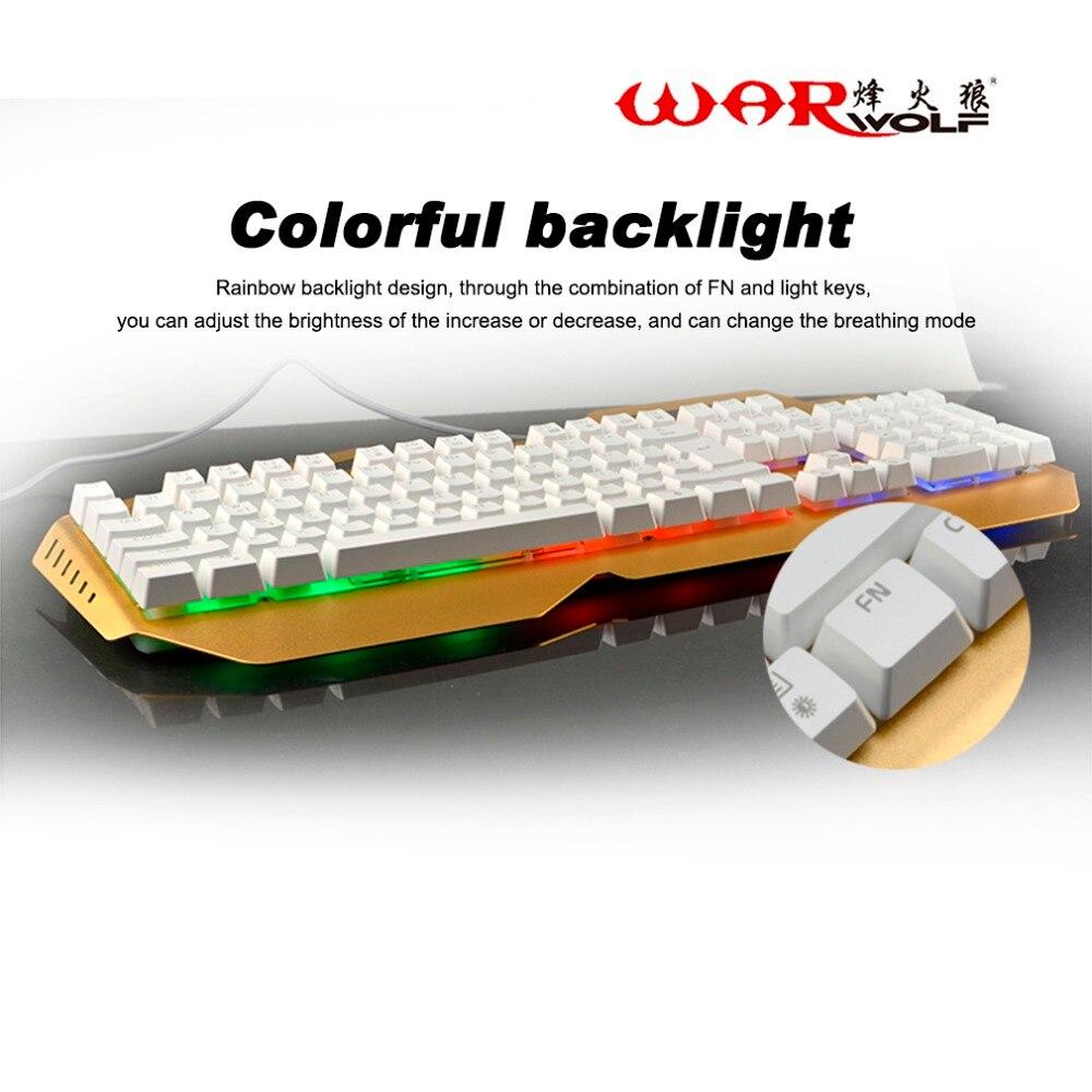 Warwolf Mecnicas De Jogos Para Computador Teclado Mecnico Keybiard Com Fio 104 Teclas Se Sentir 7 Colorful Rainbow Backlight Em Teclados