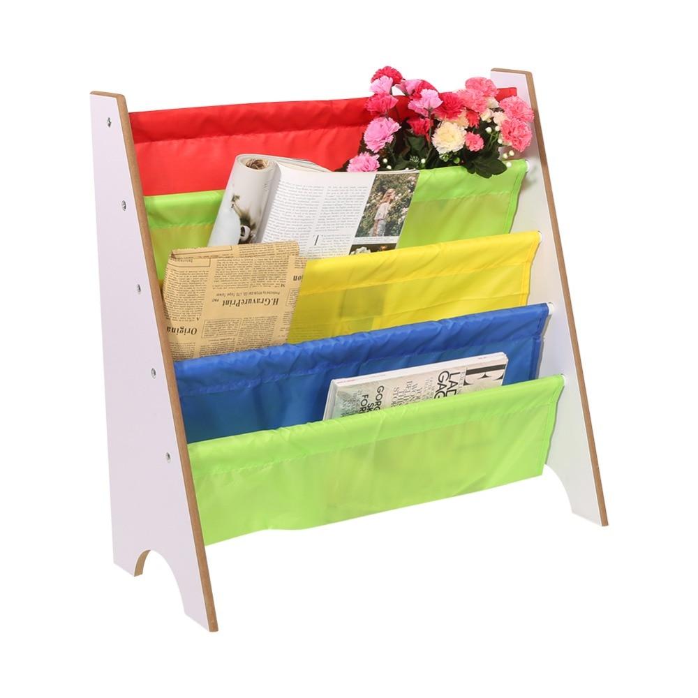 Multi-color Pocket Wooden Bookshelf Kids Bookshelf Creative Children Furniture Bookcase Shelve Toy Storage Rack #6