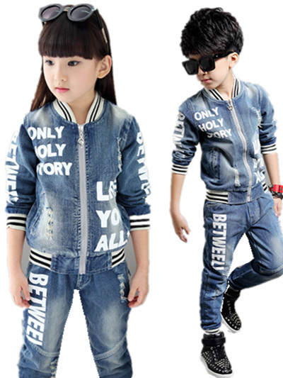 Free shipping 2015 autumn children s clothing denim jacket letter kids jacket girls clothes boys clothes
