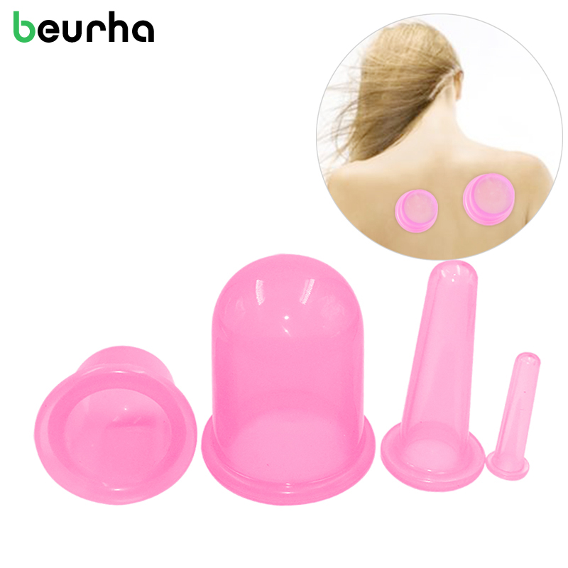 Beurha 4 in 1 Vacuum Silicone Cupping Cups Family Body Massage Helper Anti Cellulite Neck Face Cupping kit Relaxation Massages brand 1 set 4 pcs health care body anti cellulite silicone vacuum massage eye neck face back massager cupping cup best selling