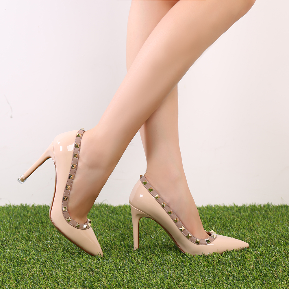 FITOW Fashion women Pumps Casual Lady White Patent Leather Studded Spikes Pointy Toe High Heels Shoes Size 34 42 Shoes