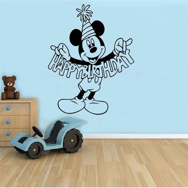 Birthday Greetings Mickey Mouse Cartoon Vinyl Sticker Wall Art Decor ...