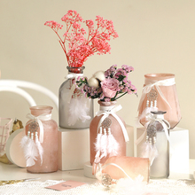Creative Ins-style fog -colored glass vase Pink/grey small Hydroponic Dried Flower containers Home Wedding Decoration