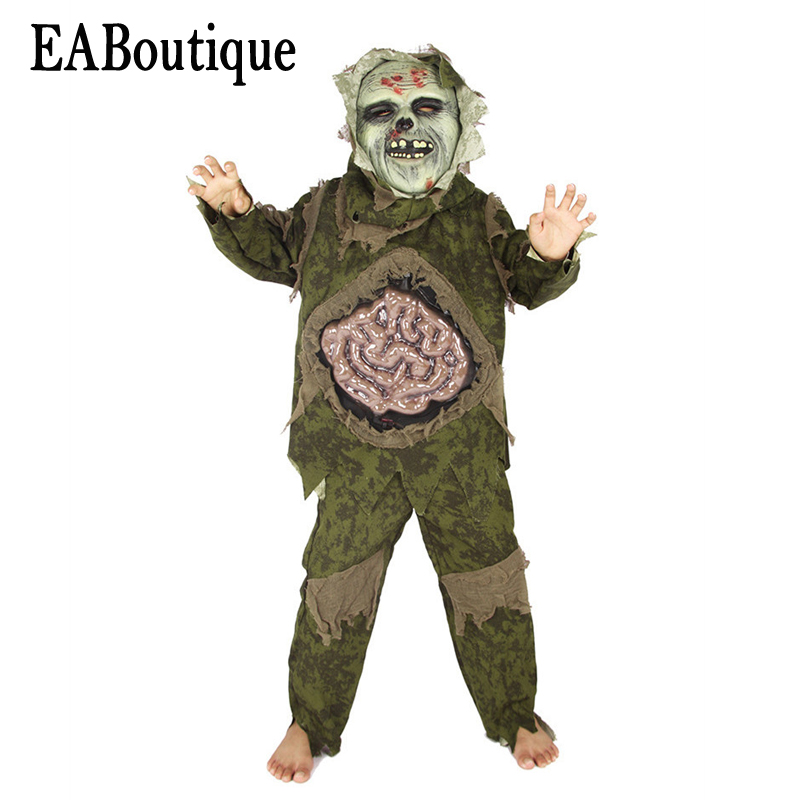 EABoutique 2017 New high quanlity scary horror Intestines Monster halloween costumes for kids boys include mask outfit 3 pcs plastic standing human skeleton life size for horror hunted house halloween decoration