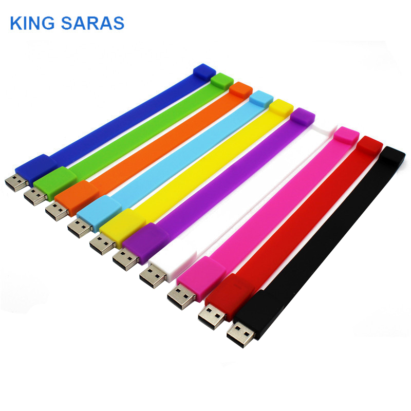 KING SARAS USB Stick Usb 2.0 10 Colour 64GB Various Bracelets USB Flash Drive Pen Drive 4GB 8GB 16GB 32GB Memory Usb Stick