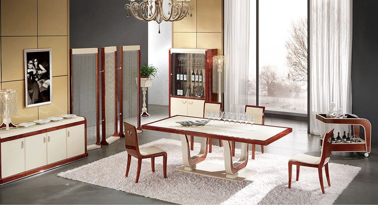 Italian Design Home Furniture Dining Table With Dinning Chair Modern Wooden Ys001 Dt