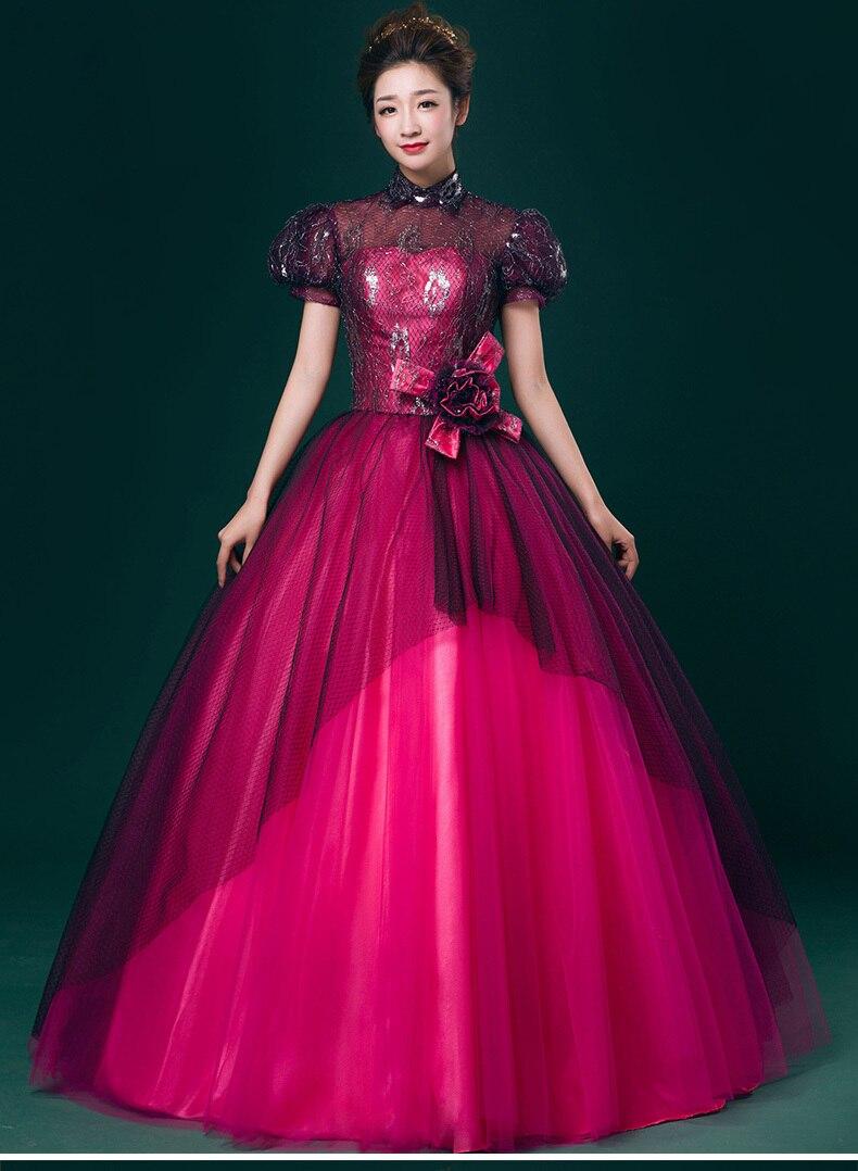 100% real hot pink black lace bolha manga beading vestido medieval ...