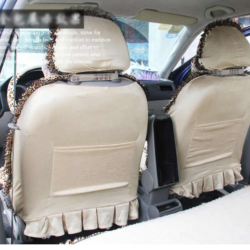 Car Seat Cover Short Plush Leopard Seat Cover Female Auto Seat Covers Winter