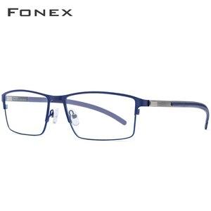 Image 2 - Tytanowe okulary optyczne rama mężczyźni Ultralight Square krótkowzroczność okulary korekcyjne 2019 męskie metalowe pełne bezśrubowe okulary