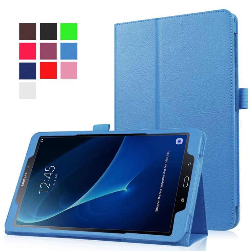 Pu Pelindung Bahan Kulit untuk Samsung Galaxy Tab A6 10.1 P580 P585 S-Pen Versi Retina Berdiri Magnetik Tidur bangun Pagi Tablet Cover