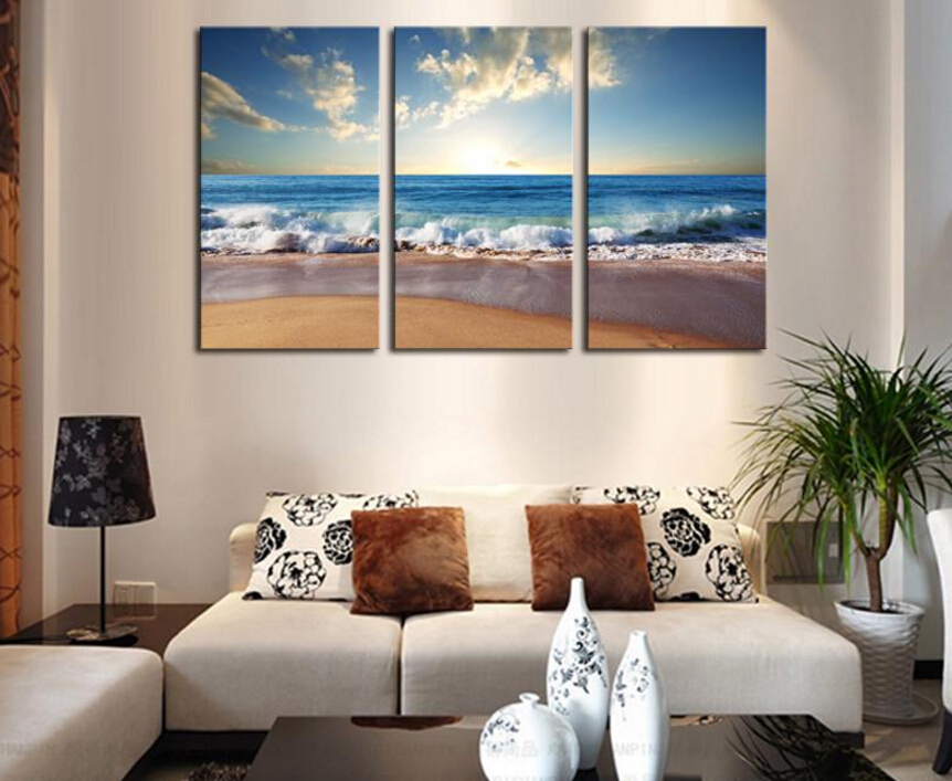 3 picture frames on wall wall arrangement pcsno frame hot sell the wide sea modern home wall decor painting canvas art hd print painting picturein calligraphy
