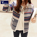 Women Short Cardigan Stripes Patchwork 2016 New Arrival spring Autumn Warm Loose Sweaters