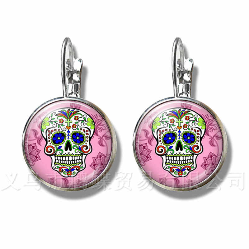 Mexico Candycolor Skeleton Earrings Glass Dome Bohemia Silver Plated Stud Earrings Personalized Jewelry Day Of the Dead Gifts