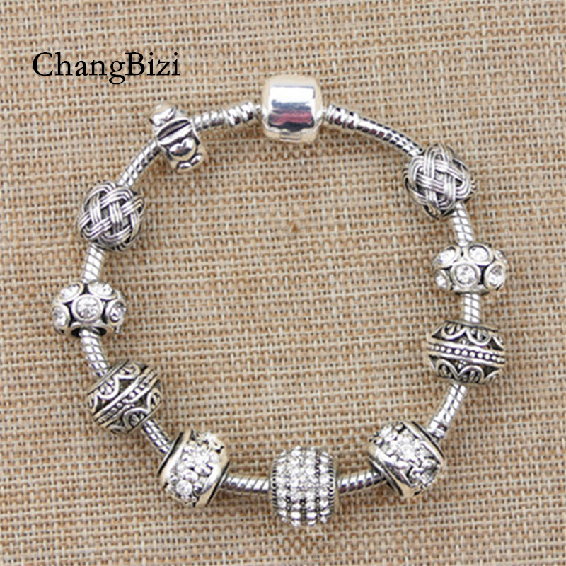 ChangBizi Antique Silver Plated Fashion Elegant Charm <font><b>Pan</b></font> <font><b>Bracelets</b></font> & Bangles with white Chamilia Beads For Women BT0132 image