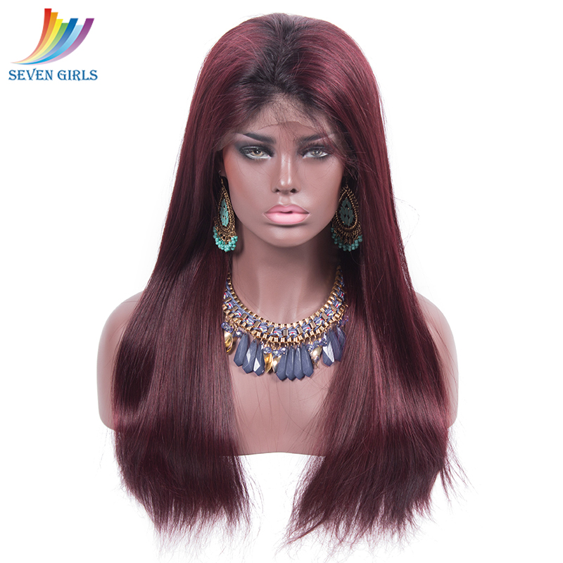 Sevengirls Peruvian 100% Virgin Hair 1B/99J Wigs Natural Hairline Available Glueless Full Lace Human Hair Wigs Free Shipping