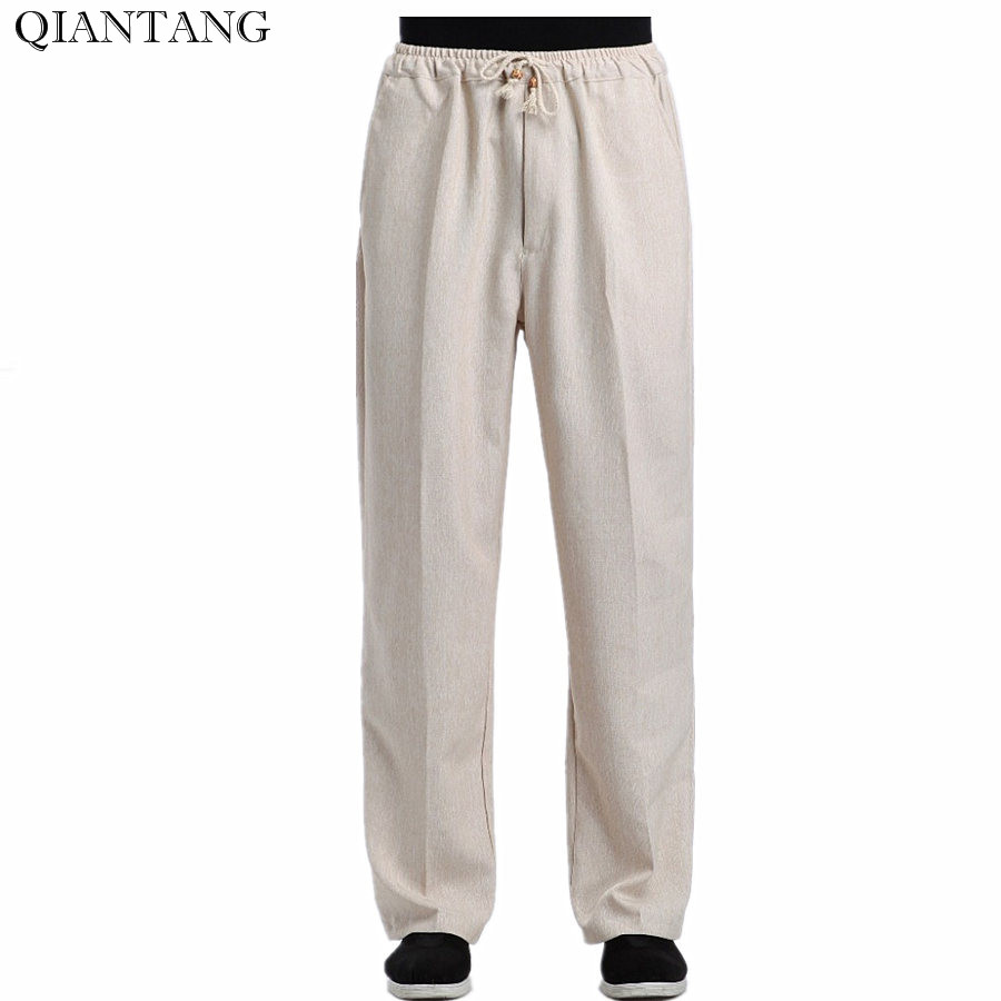 Beige New Summer Trousers Chinese Men's Cotton Linen Kung Fu Casual Pants With Pocket Size M L XL XXL XXXL 2352-15