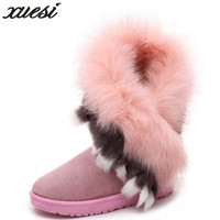 XUESI High Quality Faux Fur Snow Boots Women Winter Shoes Flock Waterproof Botas Warm Thicken Shoes