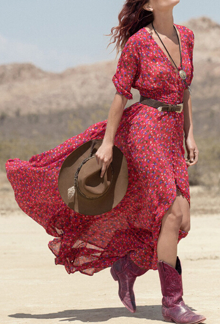 2016 mulheres moda vestido Casual Sexy V com cinto estilo Boho dividir Maxi longo Vestidos sml Vermelho Vestidos de festa
