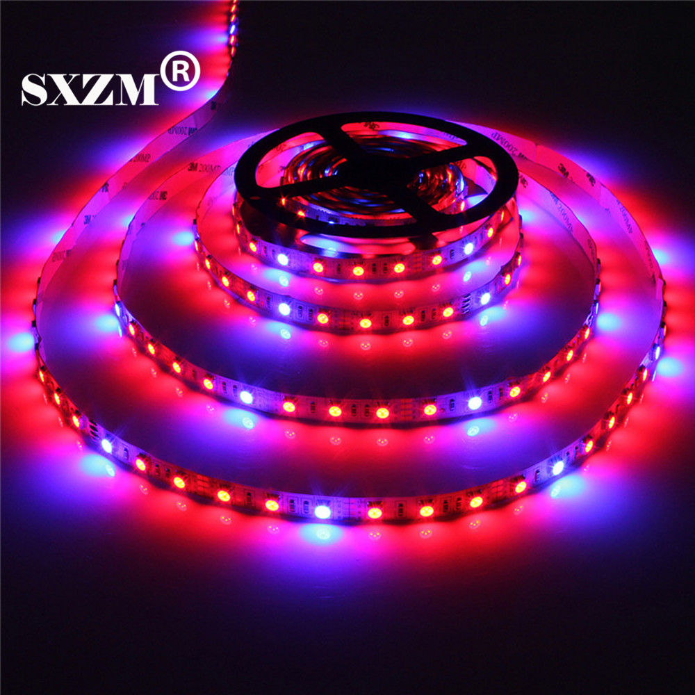SXZM 5M Led Plant grow light Non waterproof SMD5050 Hydroponic Systems Led Grow Strip Light 300Leds Full spectrum 660nm 460nm in LED Strips from Lights Lighting