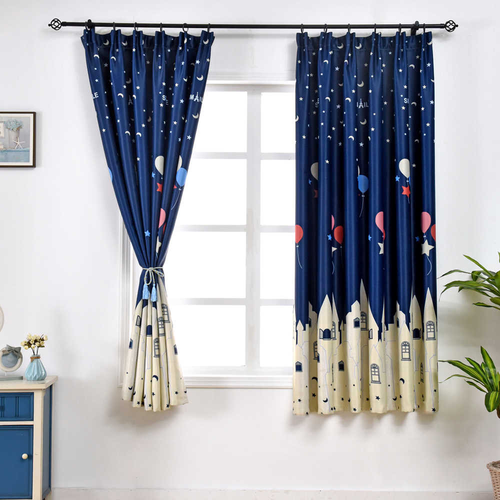 Balloon Printed Curtains For Kitchen Mini Window Sheer Voile Kitchen Valance Tie Small Window Panels PC025B