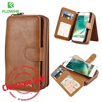 FLOVEME Luxury Wallet Case For IPhone X 6 7 8 Plus Retro Genuine Leather Pouch Cover