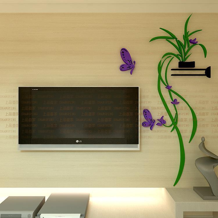Orchid Flower Wall Stickers Home Decor Living Room 3D Acrylic Plants ...