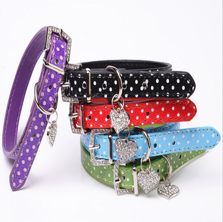 Polka Dot Pendant Leather Buckle Pet Dog Collar Puppy Cat Pet Spiked Neck Strap,Collars for dogs XS S M L