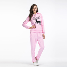 Autumn and winter two-piece cartoon snowflake deer printing hooded plus cashmere sweater trousers large size casual suit female
