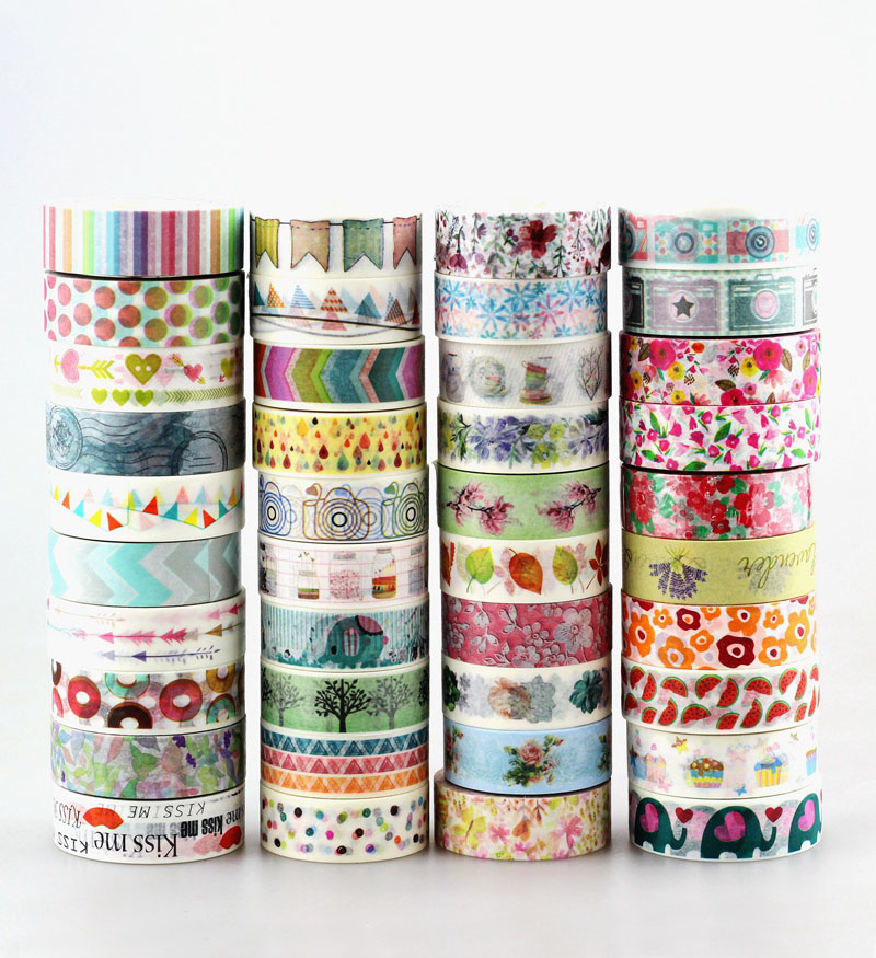 Wholesale 80pcs/lot Kawaii Colorful 531 Patterns Tape Dots, Chevron, Flower, Flags,gold And Christmas  Japanese Paper Washi Tape