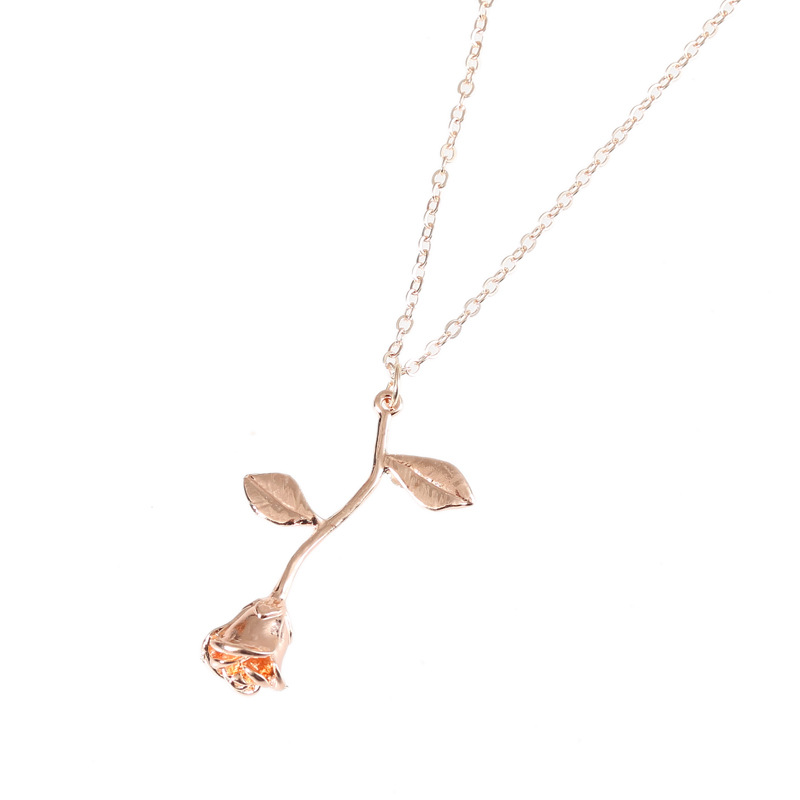 Fashion Flower Choker Jewelry Collier Pink Gold Rose Statement Pendant Necklace Women's Girls Beauty and Beast Charm Jewelry