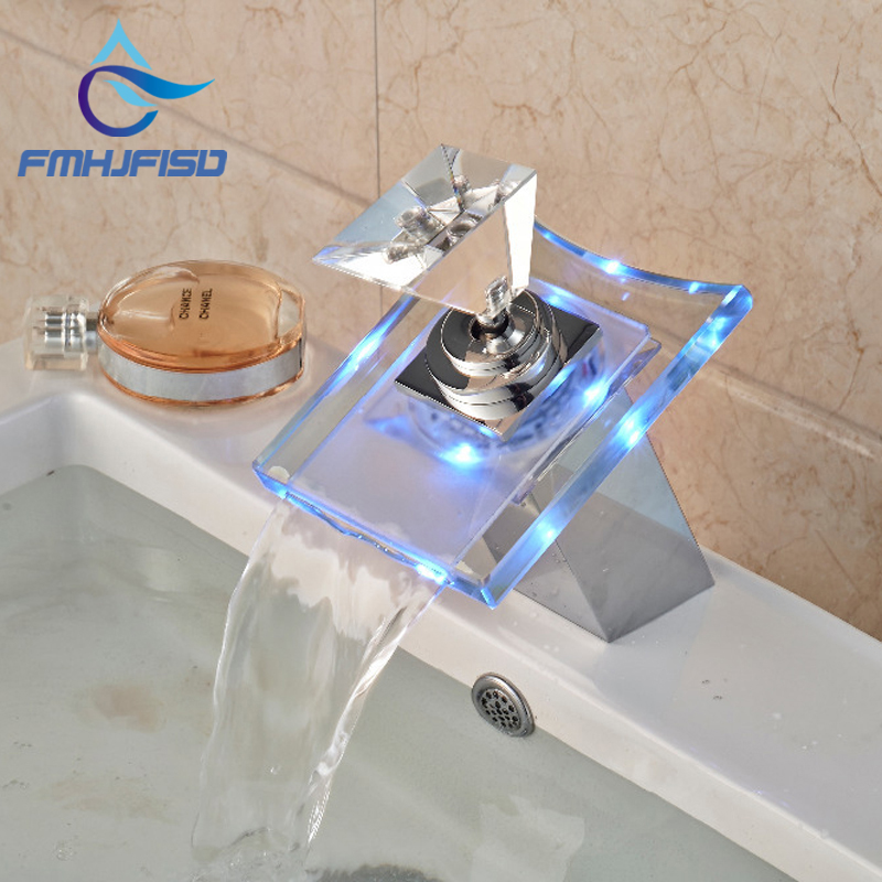Free Shipping Wholesale And Retail 3 LED Color Changing Glass Waterfall Spout Bathroom Basin Faucet Vanity Mixer Tap Chrome