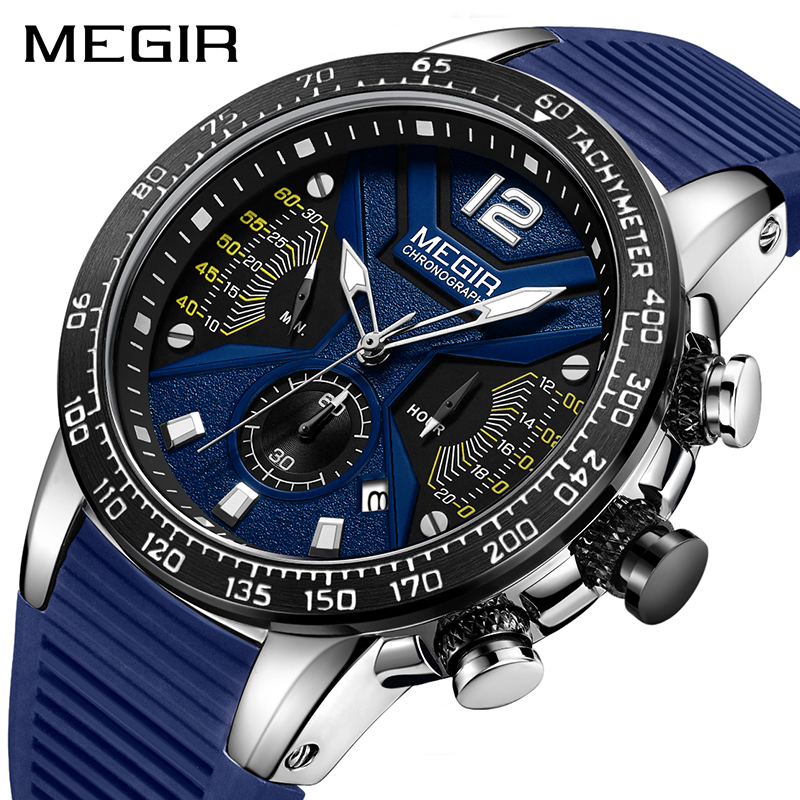 MEGIR Mens Sports Watches Silicone Quartz Military Watch Mens Watches Top Luxury Brand Relogio Masculino relogio de luxo 2019MEGIR Mens Sports Watches Silicone Quartz Military Watch Mens Watches Top Luxury Brand Relogio Masculino relogio de luxo 2019