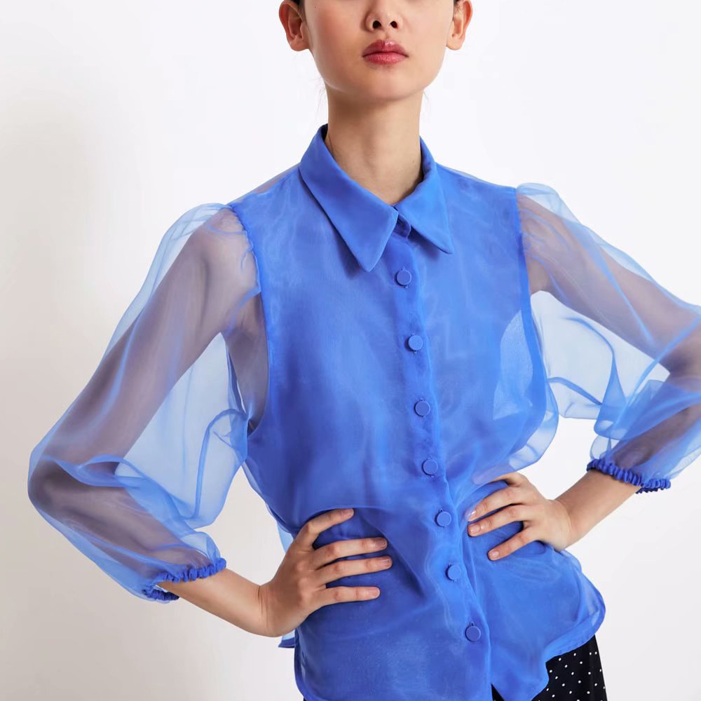 za summer women see through   shirts   loose gaze   blouses     Shirt   Womens Camisa loose Blusas puff sleeve   Blouse
