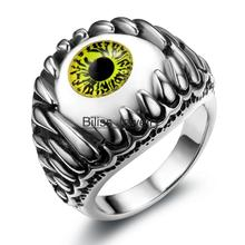 Biliss Personality Gothic Vintage Mens Jewelry, Stainless Steel Cool Punk Dragon Claw Green Evil Eye Biker Mens Ring