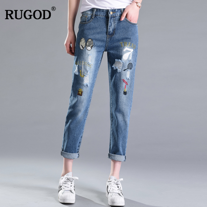 RUGOD 2019 Newnest Ripped Women Jeans Bodycon Slim Female Pencil Pants Plus Size Ankle-Length Leans Pants Casual Denim Jeans