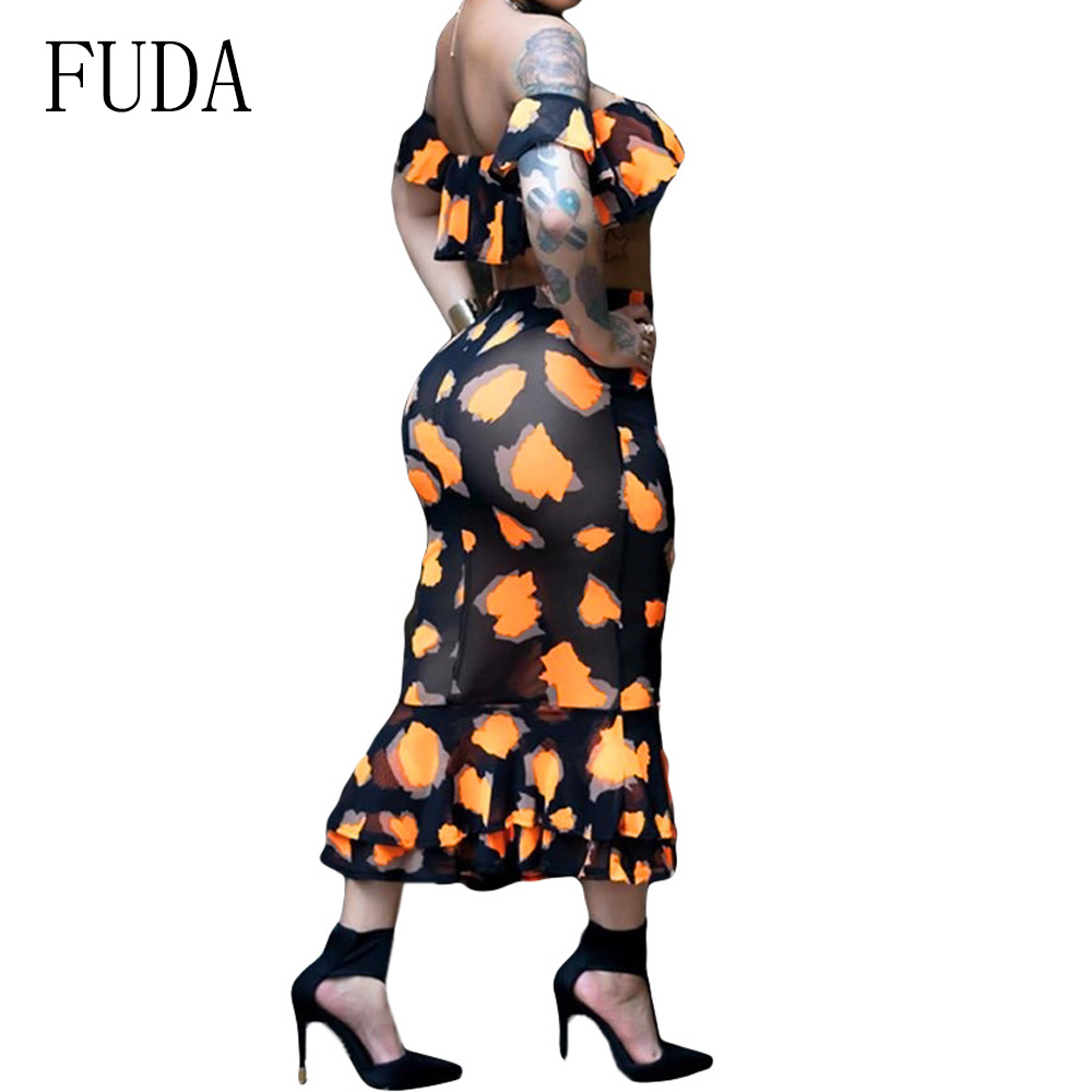 FUDA Two Pieces Sets Sexy Off Shoulder Transparent Mesh Dress Women Elegant Hollow Out Slim Bodycon Dress Summer Femme Vestidos in Dresses from Women 39 s Clothing