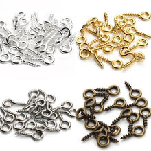 200 pcs/lot 10*4mm 4 warna Logam Screw Eye Pin Untuk Liontin Besi Screw Eye Hooks Jepit Fit Dibor Beads Diy Membuat Perhiasan F256(China)