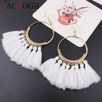Lacoogh 2017 Ethnic Bohemia Drop Dangle Long Rope Fringe Cotton Tassel Earrings Trendy Sector Earrings for Women Fashion Jewelry