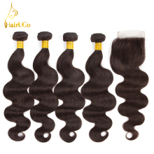 airUGo Hair Pre-colored Malaysia 4 Bundles With Closure 100% Human Hair Body Wave Hair Weave Bundles 8-26Inch #2 color Hair