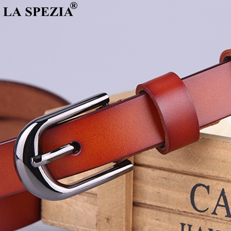 LA SPEZIA Women Belt Jeans Real Leather Thin Belts Ladies Brand Vintage Genuine Cow Leather Female Red Pin Buckle Belt 115cm in Women 39 s Belts from Apparel Accessories