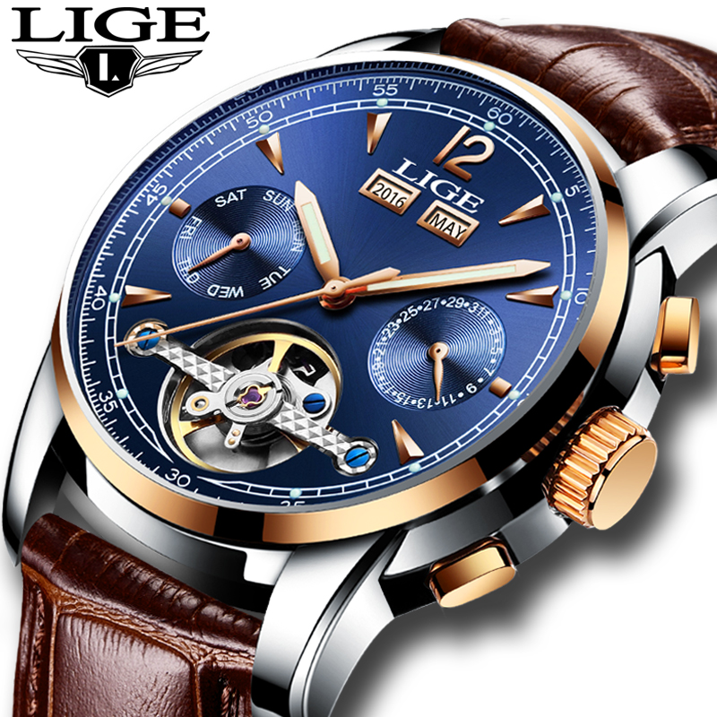 LIGE Watch Men Luxury Waterproof Flying Tourbillon Automatic Mechanical Watches Mens Self Winding Horloges Mannen Dropshipping цена