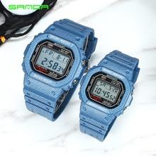 2018 сандалии спортивные часы Для мужчин Для женщин деним Цвет ремешок Водонепроницаемый пара уникальными светодиодный цифровой часы мужской часы