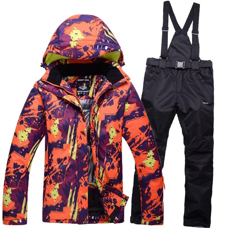 Prix pour Femmes et hommes couple vêtements combinaison de Ski Sports D'hiver En Plein Air Vestes Snowboard Femelle Neige Ski Veste Ensembles Pantalon Livraison Gratuite
