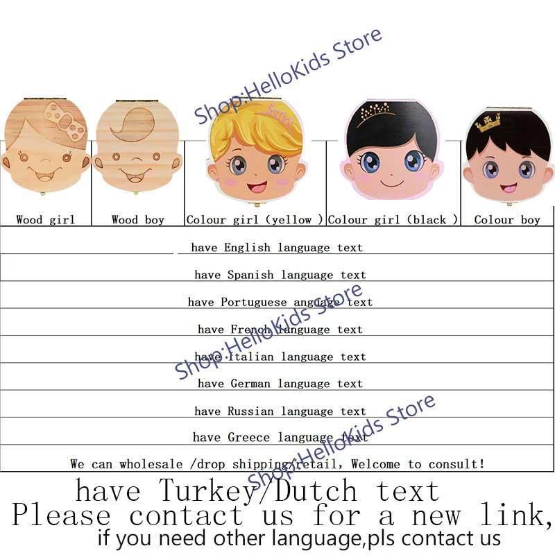 US $2 39  Baby Tooth Box Spanish/English/Dutch/Russian/French /Italian  Wooden Milk Teeth Organizer Storage Boys Girls Baby Souvenirs Gift-in Baby
