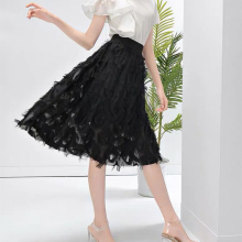 New Fashion Tulle Skirts Womens Black White Pink Adult Skirt Elastic High Waist Fake Feather Tassel Pleated Midi