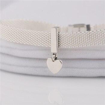 adb1ed25c20a Nueva serie R 925 Plata de Ley encanto original reflexiones corazón  flotante encanto para la cadena tejida de las mujeres