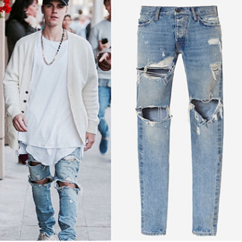 2018 Knee Hole hip hop men's hole washed Jeans high quality pants jeans casual oversize light blue pencil jeans