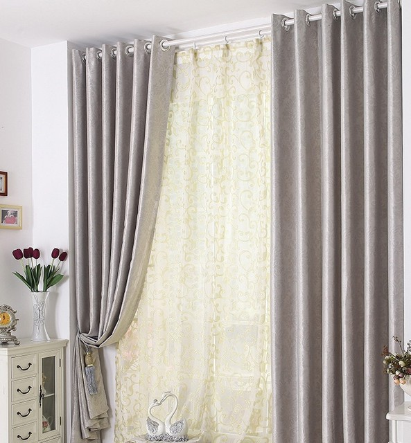 Curtains For Bedroom Living Room Processing Cost Included Silver Modern Fabric Blackout Soundproof Window Cortinas